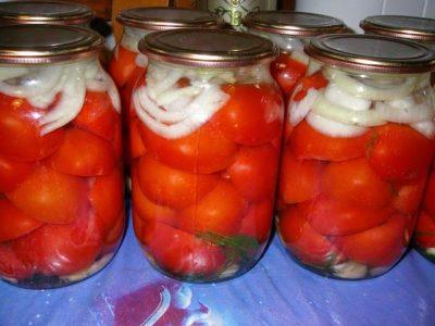 помидоры на зиму с луком без стерилизации