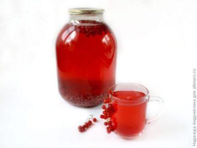 компот из красной смородины на зиму на 3 литровую банку