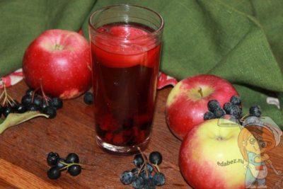 компот из яблок и черноплодной рябины на зиму на 3 литровую банку