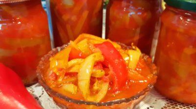 лечо из болгарского перца с морковью и луком и помидорами